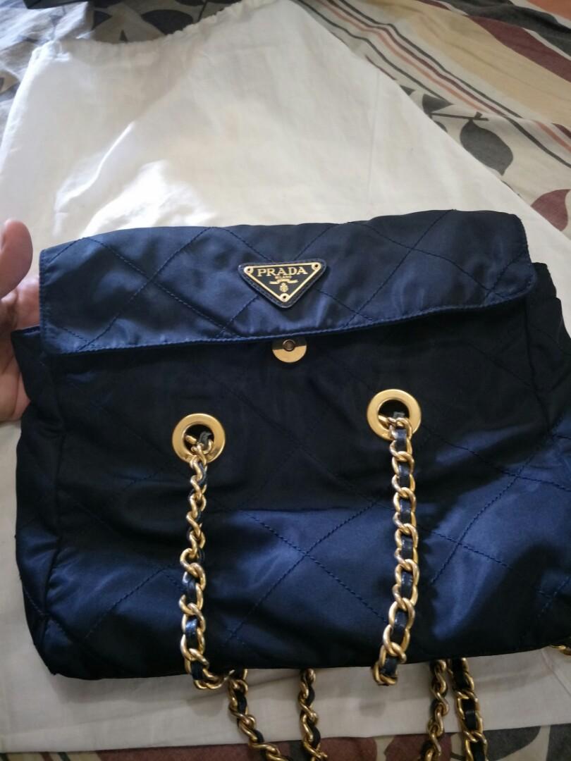 repriced!! authentic prada vintage nylon tessuto golden chain bag ... c52a9aac12ef4