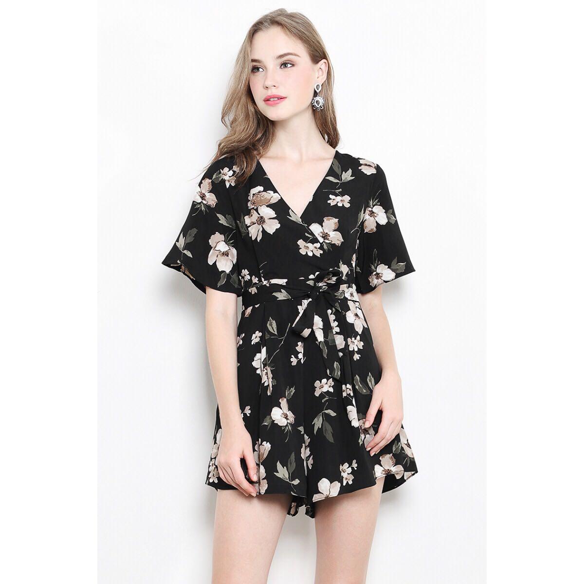 5b5d1aba39f Shopsassydream Anna Playsuit Black Floral