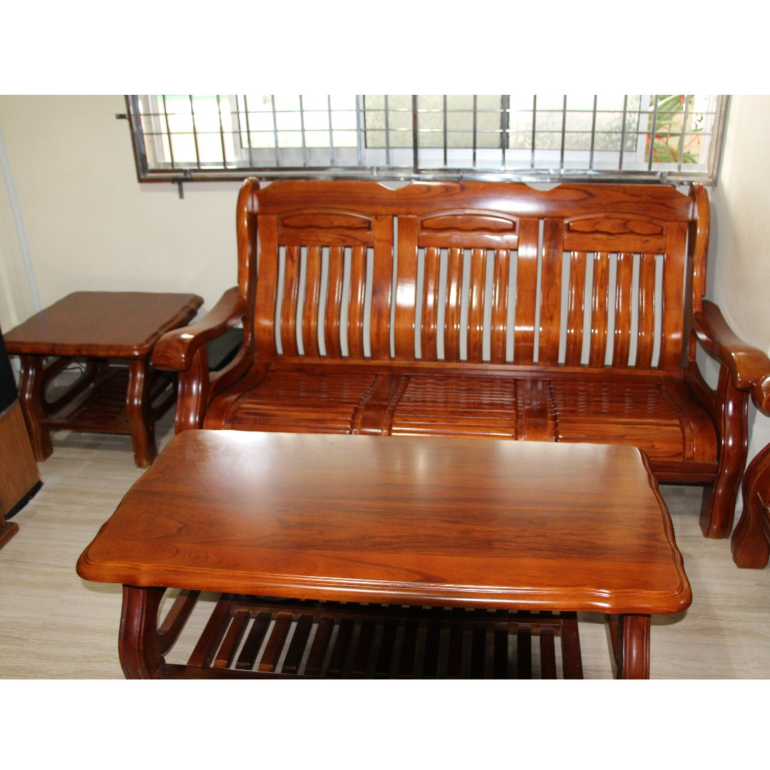 Picture of: Sofa Set Teak Wood With Coffee Table And Side Table Furniture Sofas On Carousell