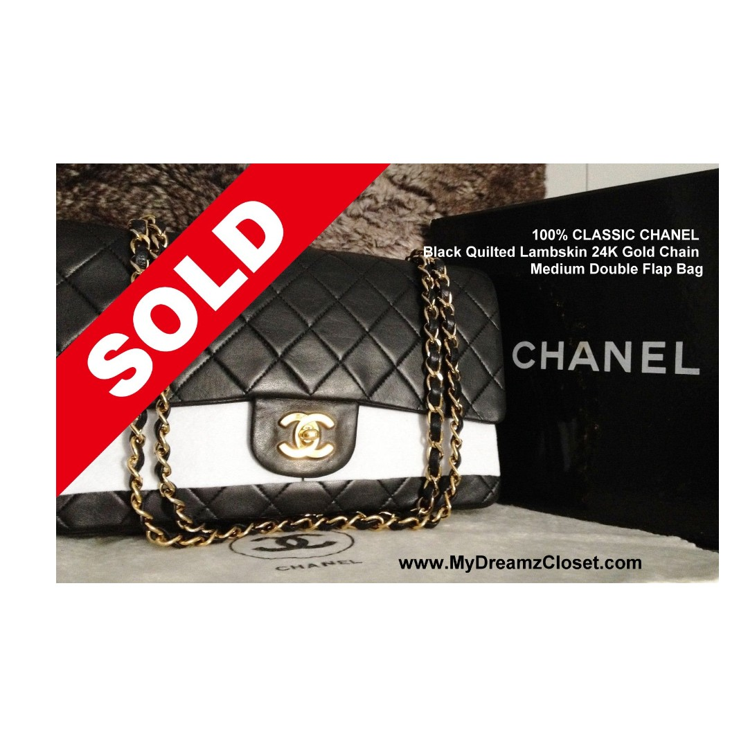 2580b2935da9 SOLD - ALMOST FULL SET CLASSIC CHANEL Black Quilted Lambskin 24K ...