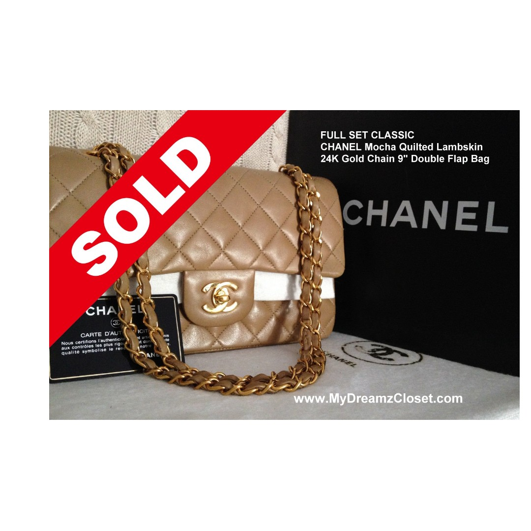 0a66e85efa40 SOLD - FULL SET CLASSIC CHANEL Mocha Quilted Lambskin 24K Gold Chain ...