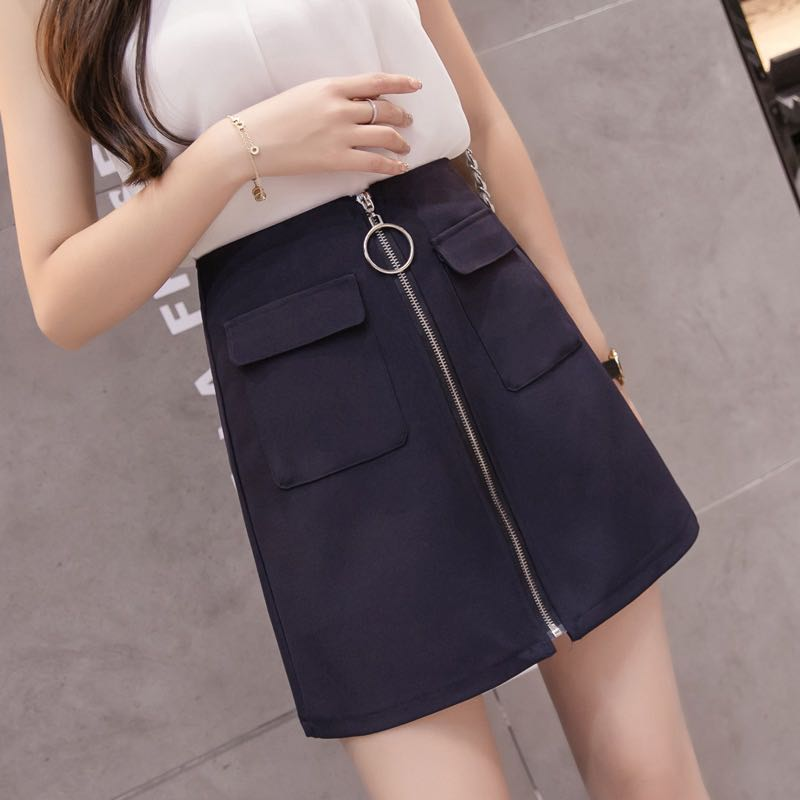 0a4959aec Solid Coloured Ring Zip With Flipped Pockets Skirt, Women's Fashion,  Clothes, Dresses & Skirts on Carousell
