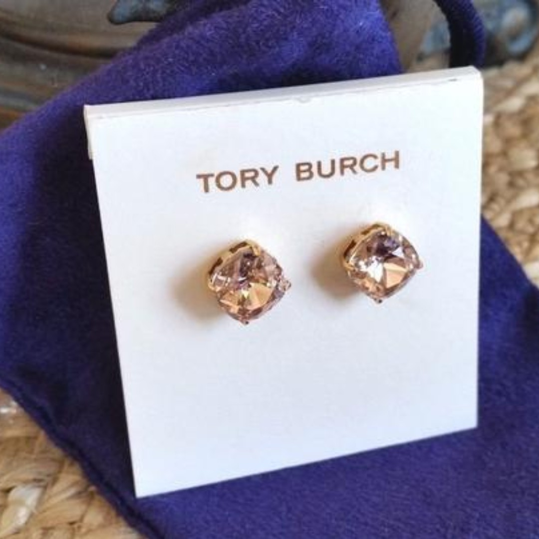 6126de182 Tory Burch Vintage Rose Gold Swarovski Crystal Stud Earrings (INSTOCK),  Luxury, Accessories, Others on Carousell