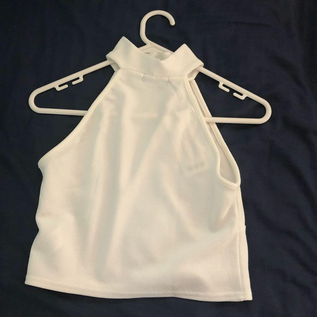 White crop top (halter neck top)