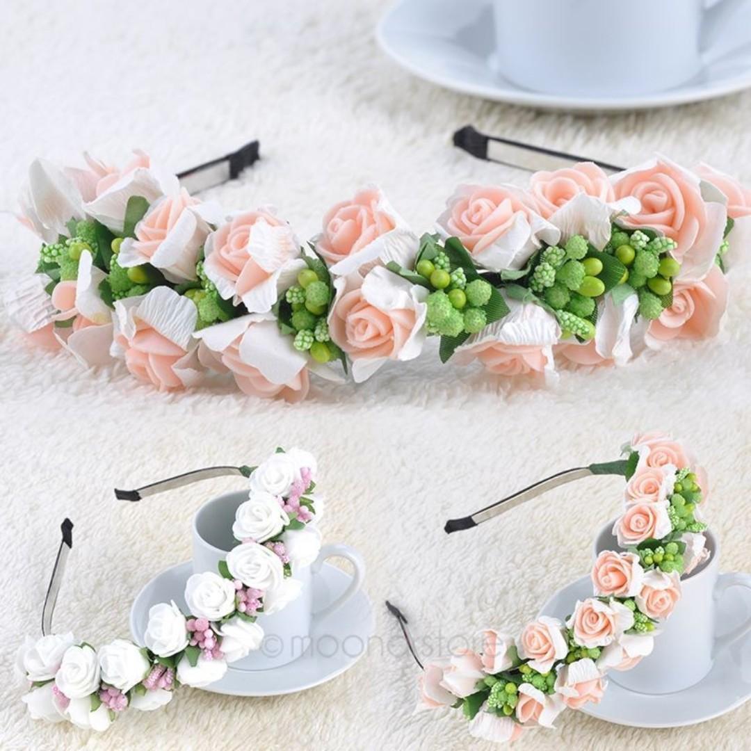 White Rose Flower Boho Floral Headband Hairband Garland Festival Wedding Bridal