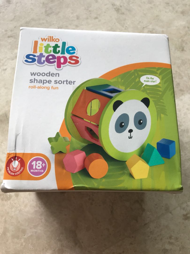 wilko little steps wooden shape sorter, babies & kids, toys