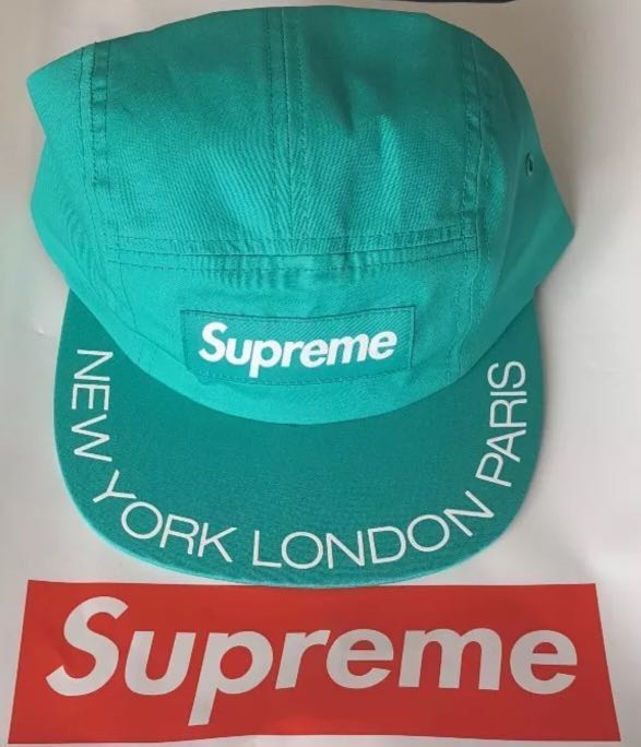 0d5db3f0ecf Yearend Sale Supreme Visor print camp cap AQUA SS18