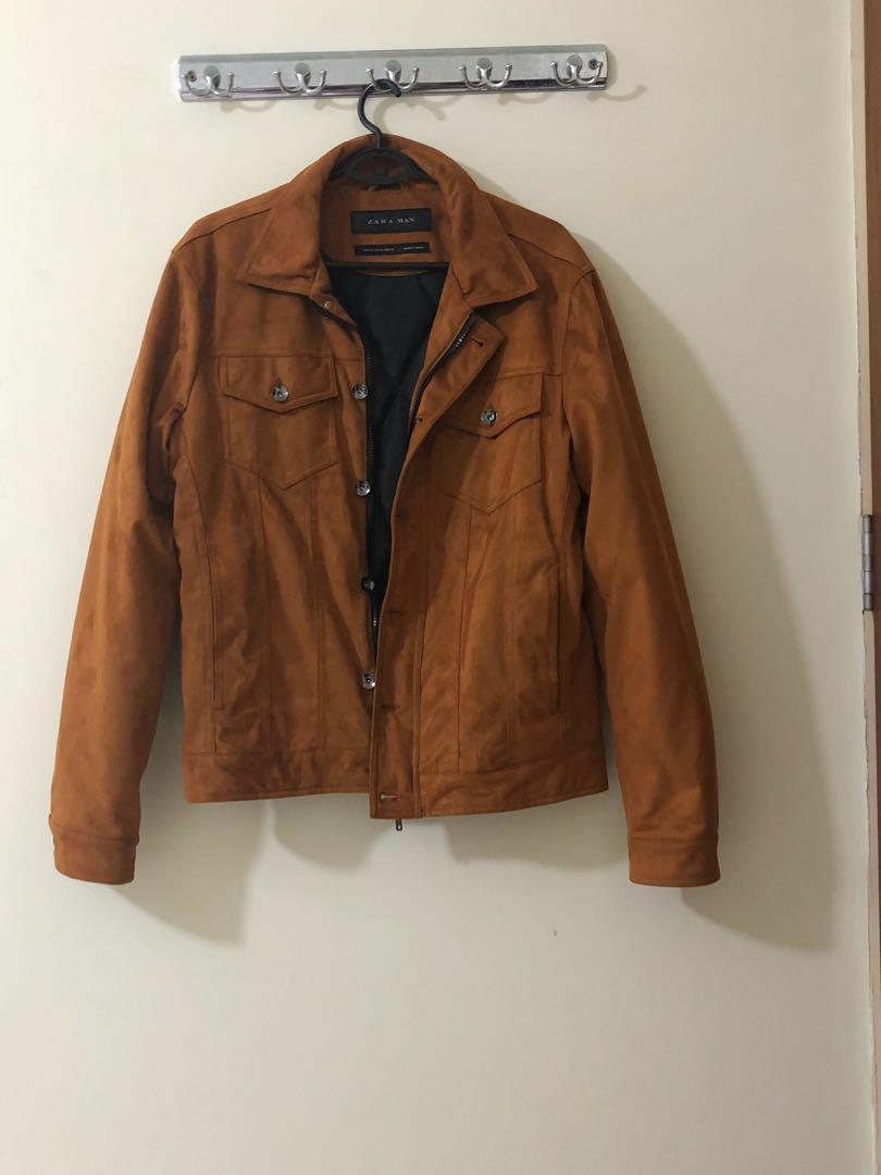 Zara Mens Brown Suede Quilted Inside Jacket Men S Fashion
