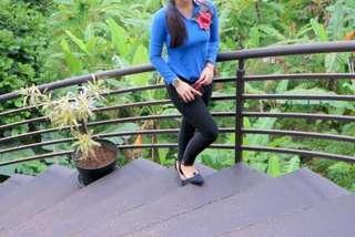 blouse biru katun