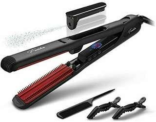 Steam Hair Straightener, Black Hair Straightening Iron : Professional Ceramic Flat Iron for Hair Straightening with Digital LCD Display, Dual Voltage, 350℉ - 450℉ Salon High Heat, 1-Inch, Black