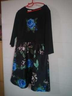 Floral Dress Blue Rose XL