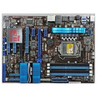 🚚 華碩 P8H67 B3 全固態電容主機板、雙PCI-E獨顯插槽、USB3.0、記憶體插槽有一條抓不到並不影響功能、附擋板