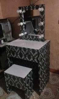 Vanity mirror, table and stool