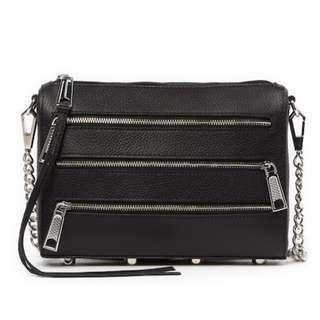 PO Rebecca Minkoff Mini 4 Zip Pebbled Leather Shoulder Bag Handbag RRP 105USD