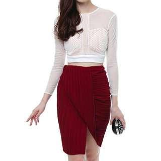 MDS Pleated Drape Skirt (Maroon)