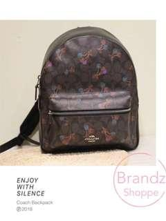 🎒Ready Stock! Coach Woman Signature C & Cherry Version 🍒 Backpack (Dark Brown)