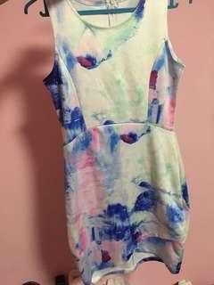 Watercolor Bodycon Work Dress
