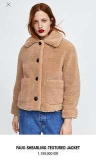 Faux-shearling-textured jacket zara women