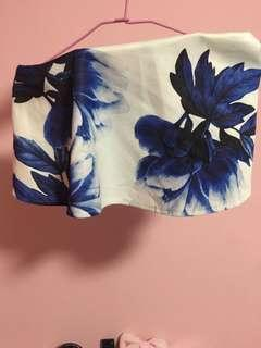 Blue White Floral Crop Tube