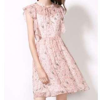 lotus leaf sleeve pink chiffon print dress floral skirt