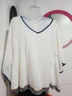 Poncho Style Blouse, white