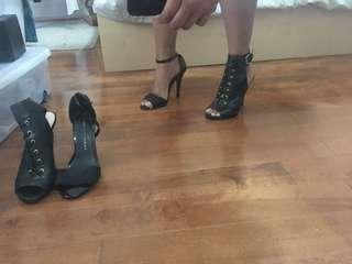 Black strapy/lace up heels