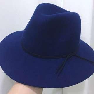 歐美英倫風復古毛呢帽-寶藍 紳士帽 交換禮物