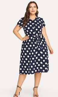 Shein size 3xl navy blue and white polka dot dress plus size
