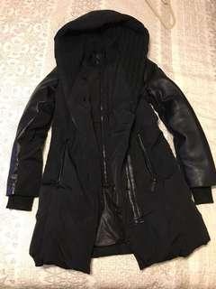 RUDSAK Atelier noir knitted hood leather sleeve coat