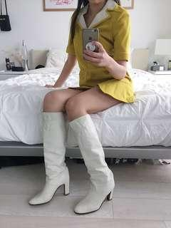 Vintage Celine Knee High White Leather Boots