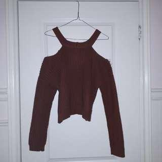 Forever 21 knit open shoulder sweater