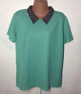❤️ 28  Pre loved Plus size Mint-green Collared Blouse