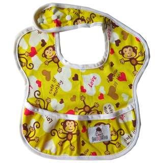 Adjustable waterproof bibs with food catcher pocket - Yellow Monkey