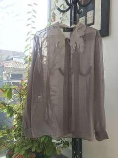 Grey Transparent Top - PRELOVED FREE ONGKIR JABODETABEK