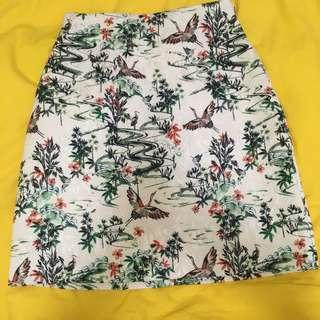 Floral A-line Skirt, H&M