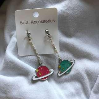 Outerspace Planet Dangling Earrings