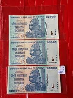 Zimbawe 1 trillion dollars notes in unc grade 3 pcs in lot