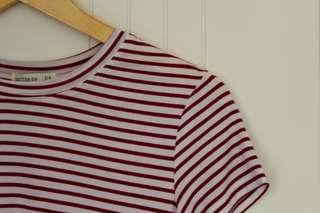 COTTON ON • TIGHT FIT CROP • RED & WHITE STRIPES