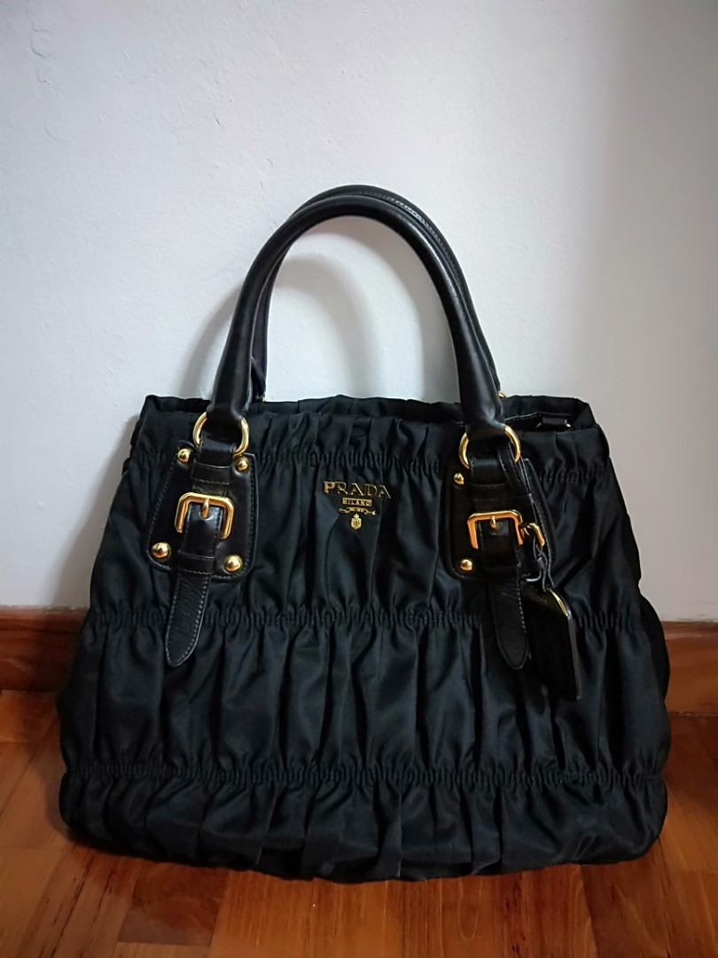 100% Authentic Prada Tessuto Gaufre Nero Nylon Tote Bag BN1792 Black ... 171aaeed0f81e