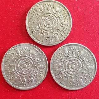 1961/66/67 GB two shillings