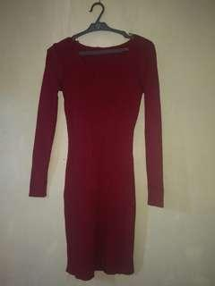Red Knitted Dress for Semi-Large Body Frame