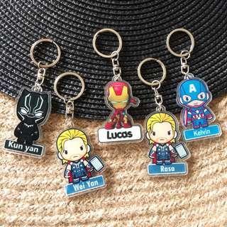Custom Personalised Keychain / Key Rings - Superheroes