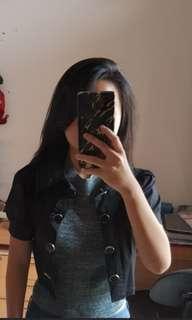Black crop blazer include inner