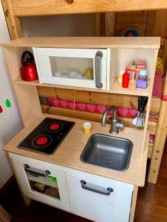 Solid wood toy kitchen with accessories
