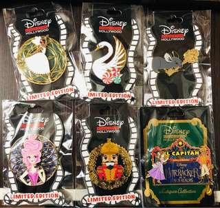 Disney Studio Store Hollywood pin 迪士尼徽章襟章 Nutcracker胡桃夾子連Surprise release le Disney pin 一套6個