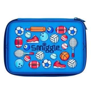 Authentic Smiggle Imagine HardTop Pencil Case Sports Edition Football Basketball in Blue