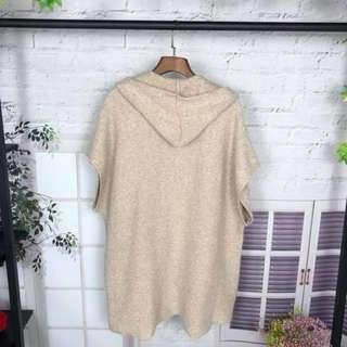 Cardigan with Hoodie - beige Free size