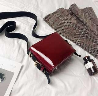 Red Wine Leather Sling beg