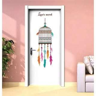Feather cage wall stickers