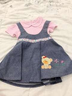Teddy dress in pink dress anak perempuan bayi